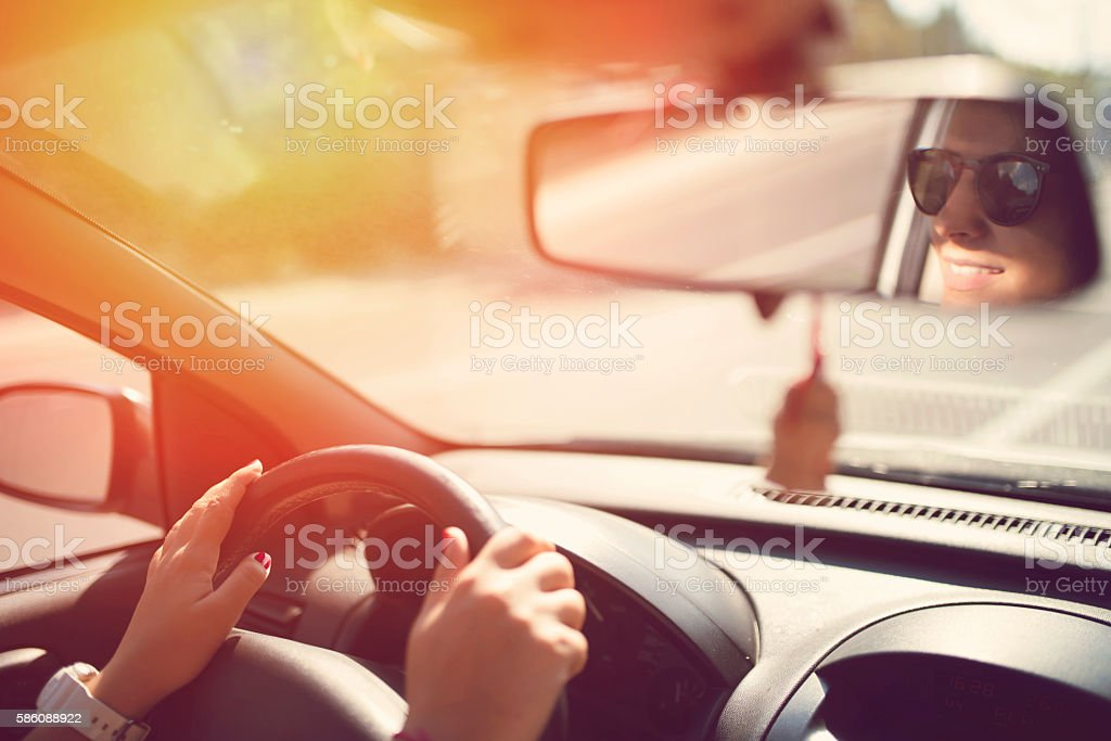 Hands On The Wheel, Eyes On The Road. stock photo