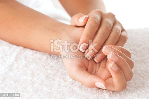 istock Hands on towel 134112600