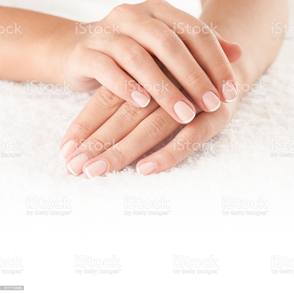 Hands on towel stock photo