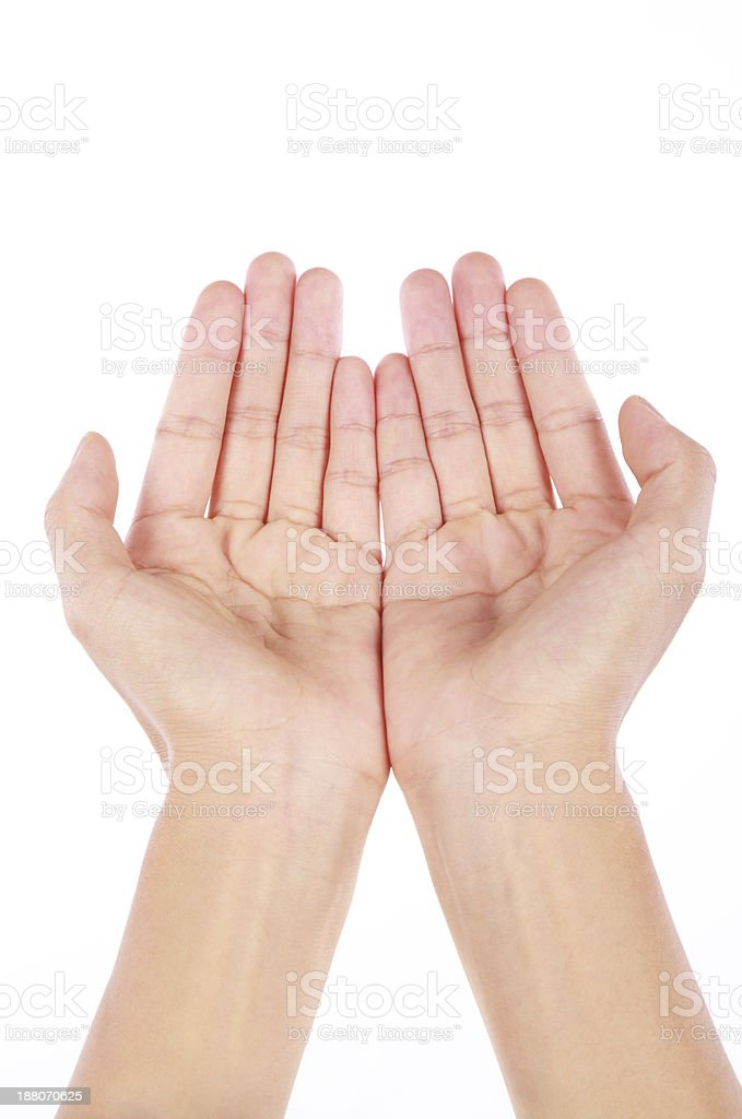 Hands open on a white background stock photo