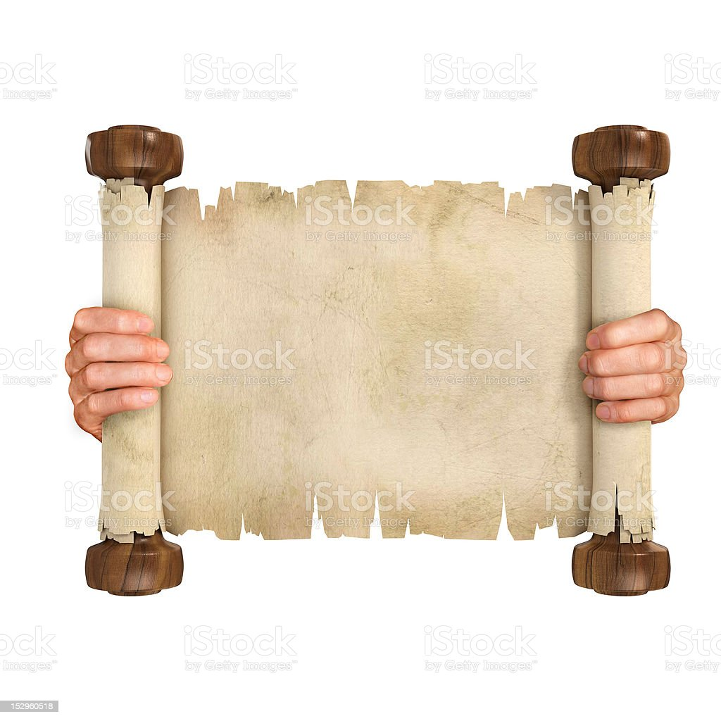 hands opening parchment scroll royalty-free stock photo
