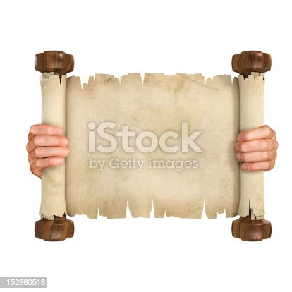 istock hands opening parchment scroll 152960518