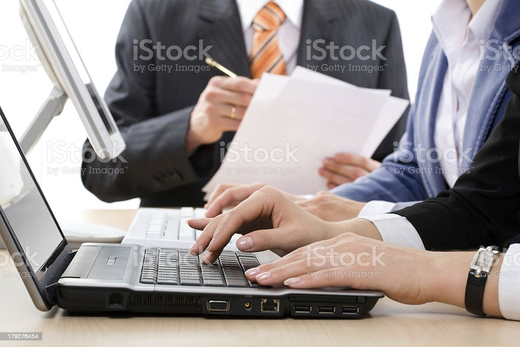 Hands over keyboards royalty-free stock photo