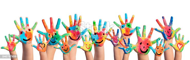 istock Hands Painted With Smileys 546787458