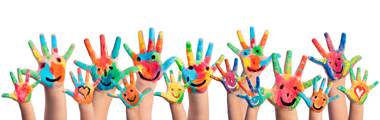 Colorful Hands Painted With Smileys