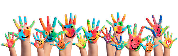 hands painted with smileys - child stock photos and pictures