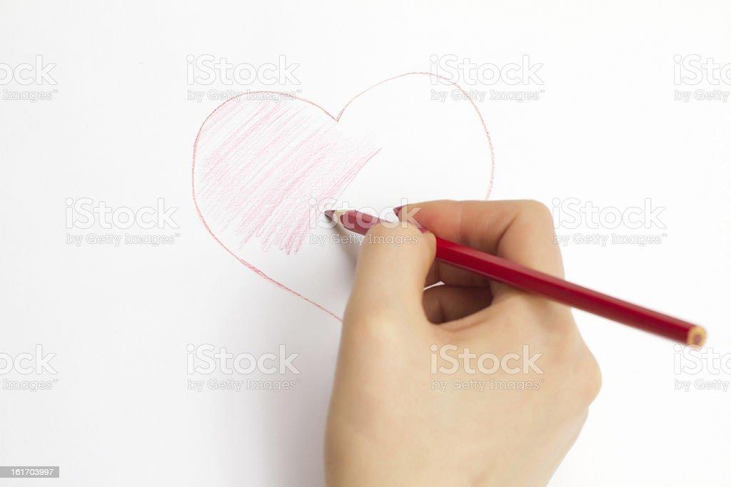 Hande Malen Ein Herz Mit Bleistift Stock Fotografie Und Mehr Bilder