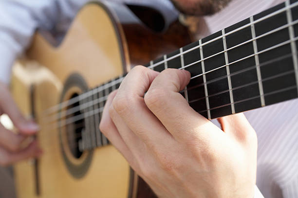 Hands playing guitar stock photo