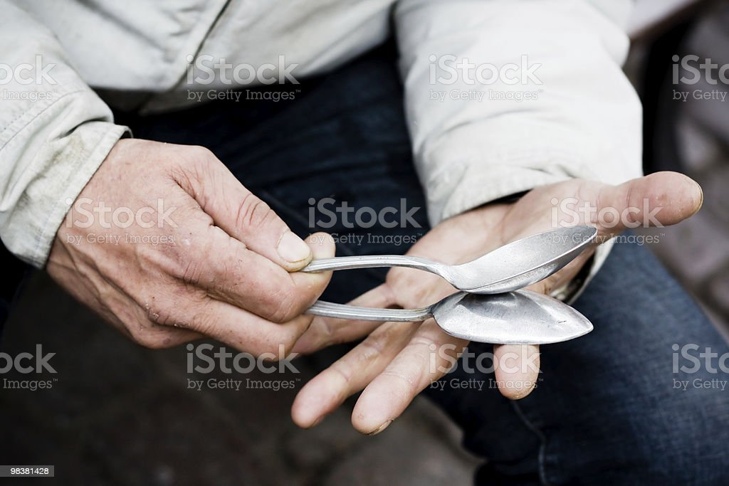 Hands playing the spoons royalty-free stock photo