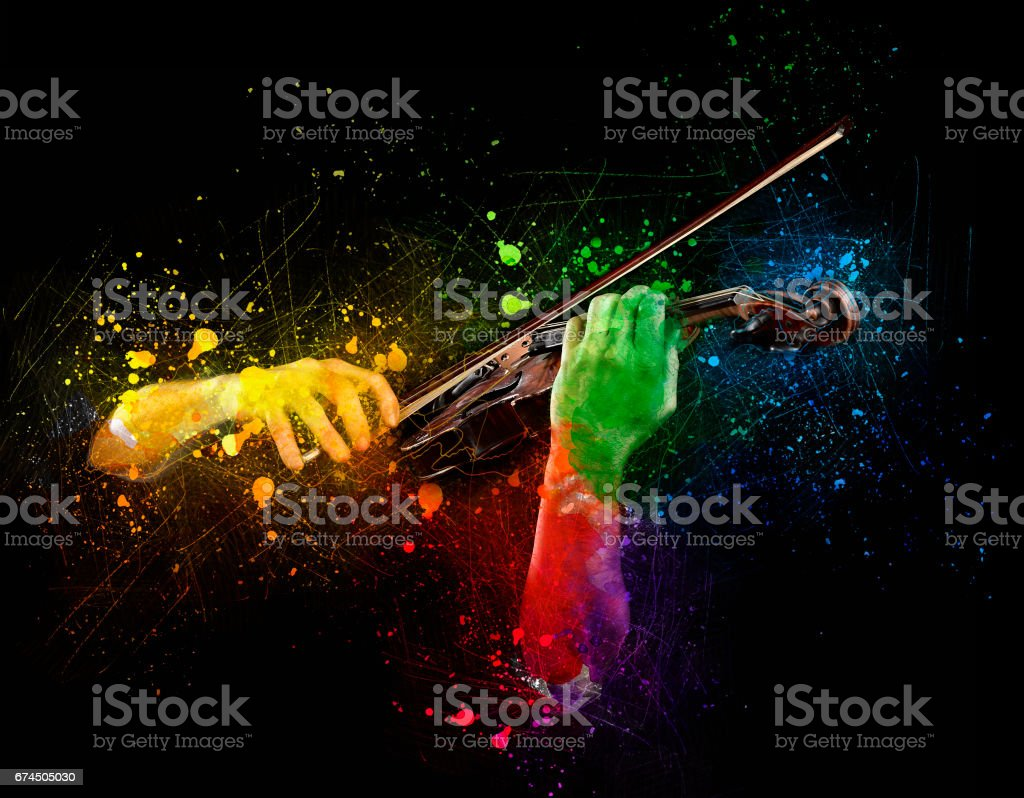 Hands playing  wooden violin stock photo