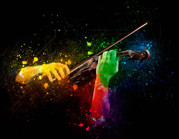Hands playing  wooden violin Hands playing  wooden violin on colored background string instrument stock pictures, royalty-free photos & images