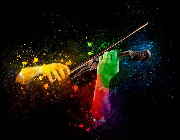 hands playing  wooden violin - arte, cultura e spettacolo foto e immagini stock