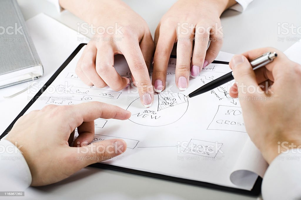 Hands pointing out particulars of a new business project  royalty-free stock photo