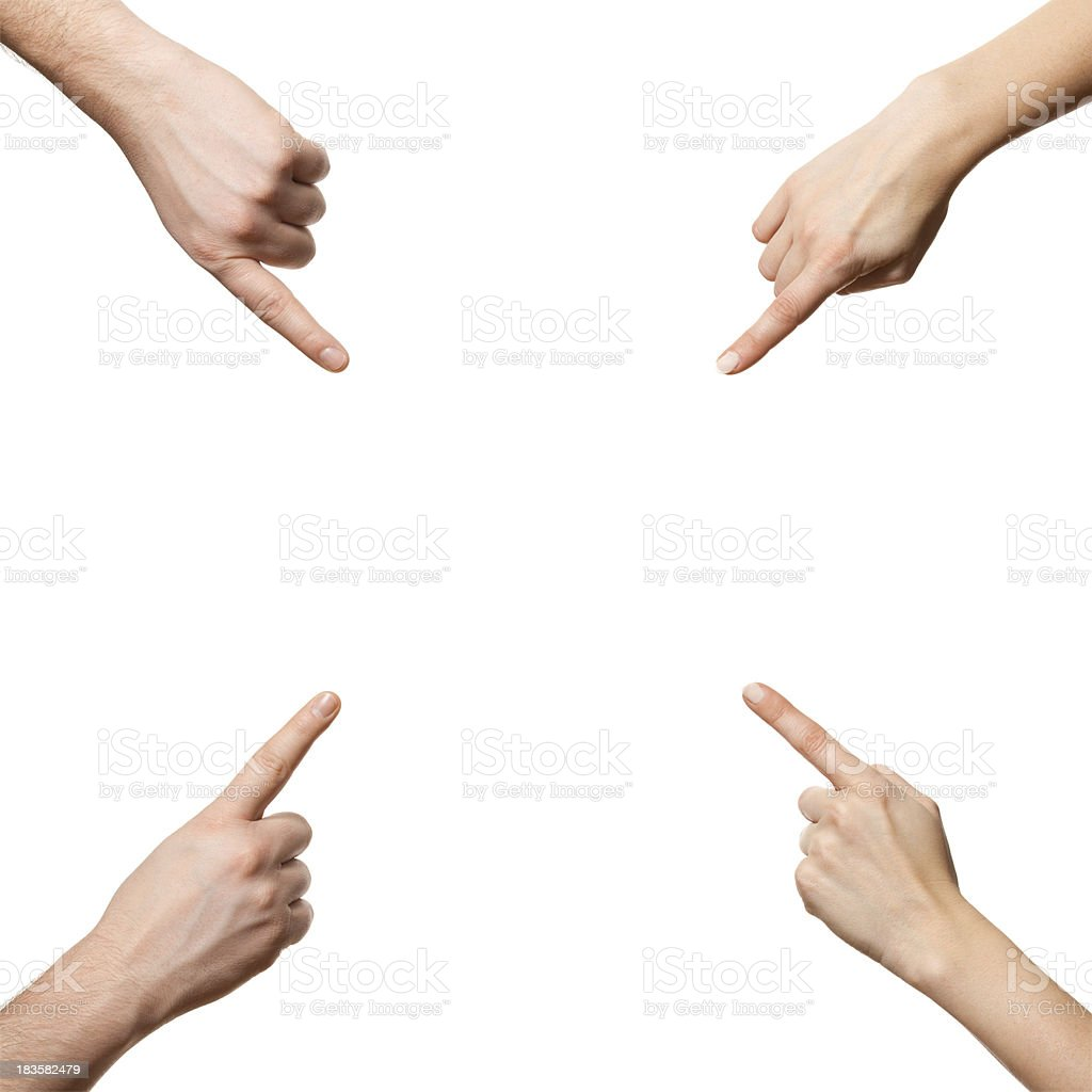 Hands pointing with index finger stock photo