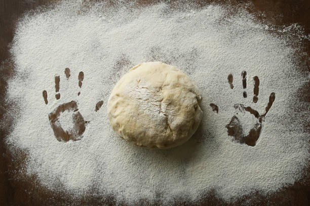 Hands print in flour and raw ball of dough. stock photo