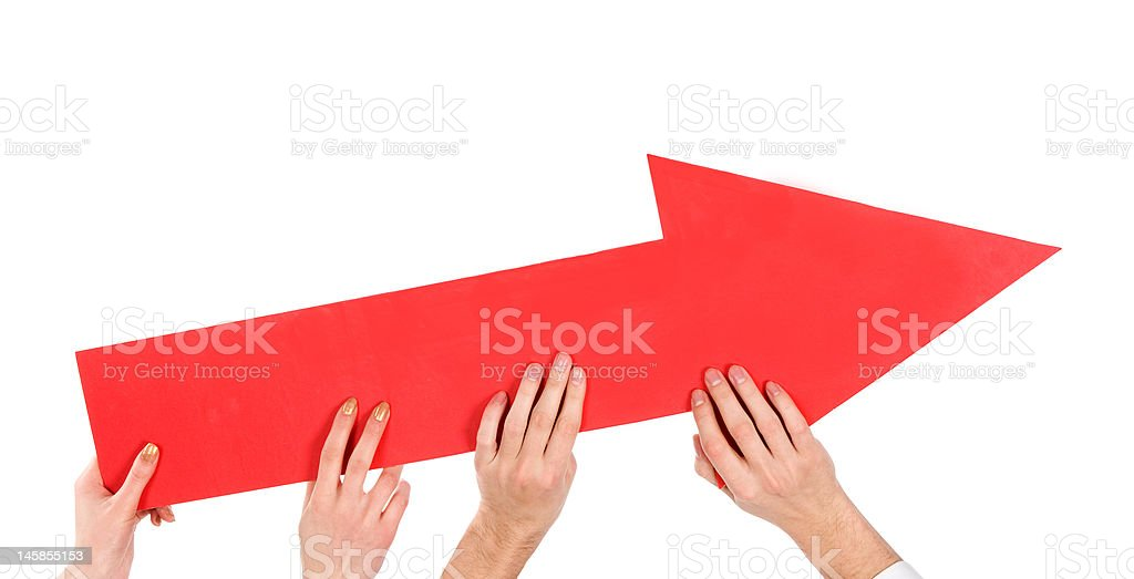 hands pushing red arrow up royalty-free stock photo