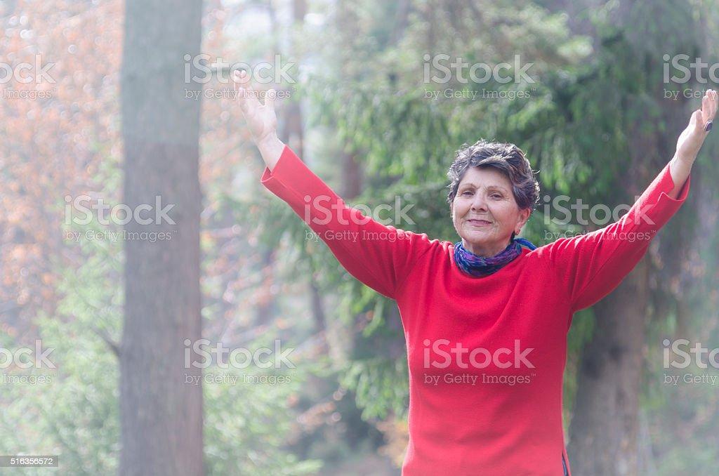 Hands Raised in Worship stock photo
