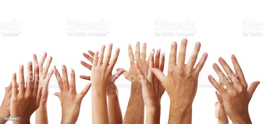 Hands raised stock photo