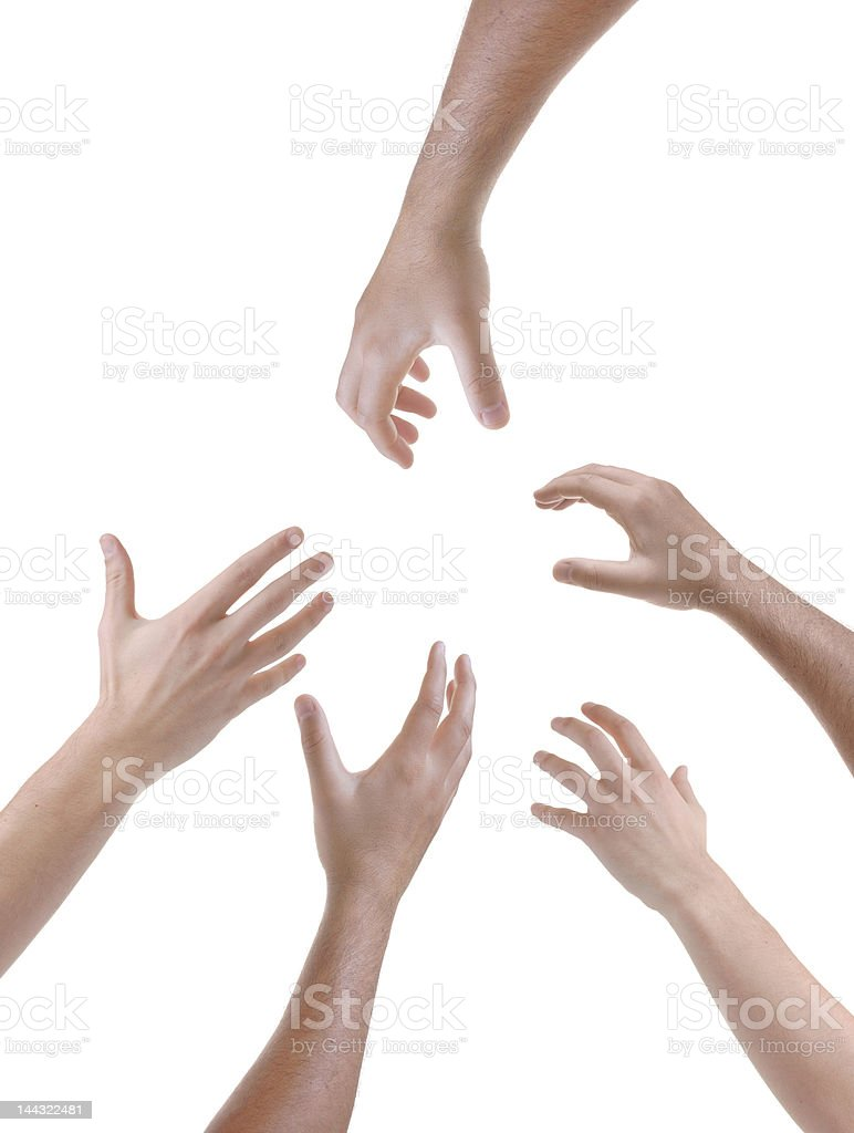 Hands reached out pleading for help stock photo