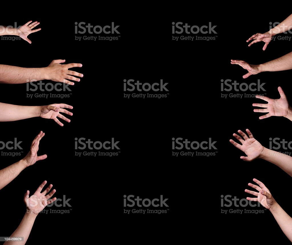 Hands reaching out royalty-free stock photo