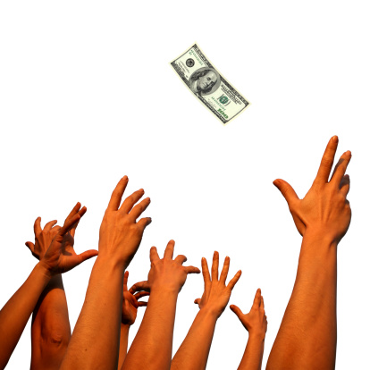 Hands Reaching To Money Stock Photo - Download Image Now - iStock