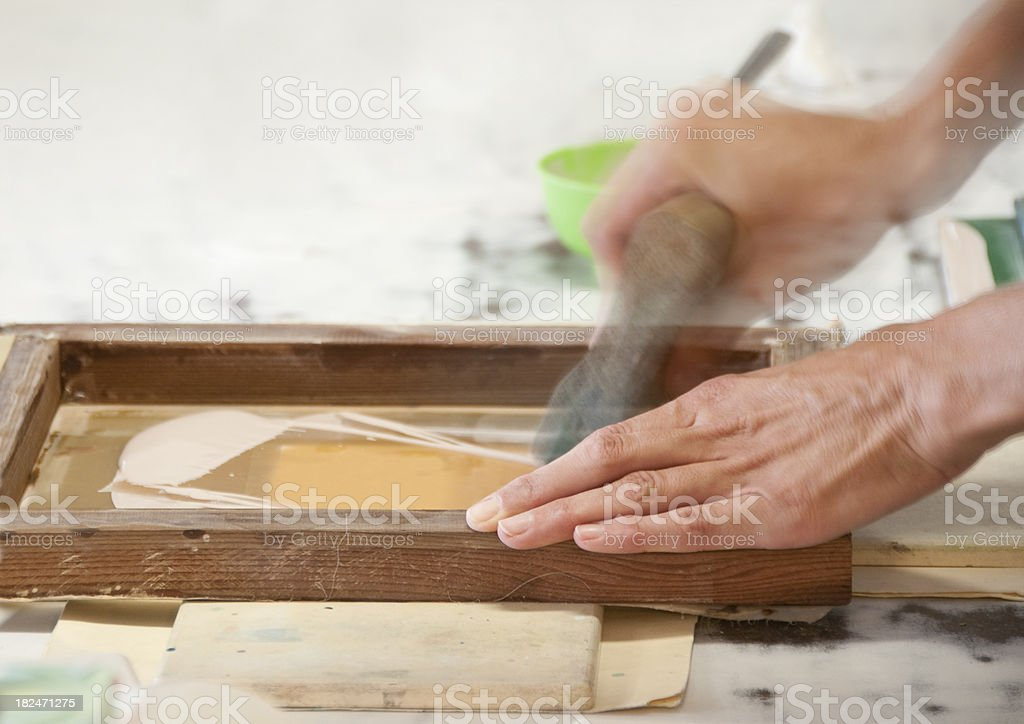 Hands Screenprinting royalty-free stock photo