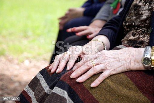 Hands senior woman