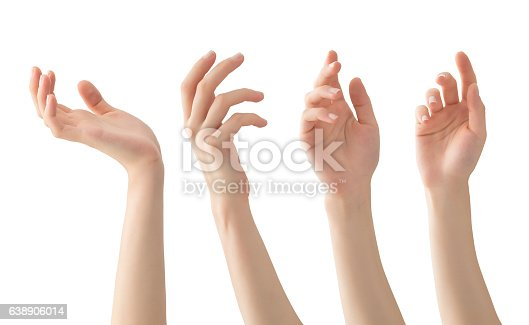 Hands set with clipping path