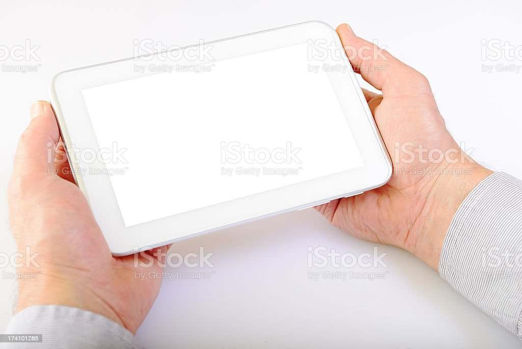 Hands Showing Digital Tablet royalty-free stock photo