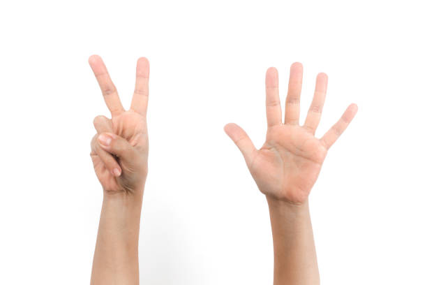 Hands sign of number seven stock photo