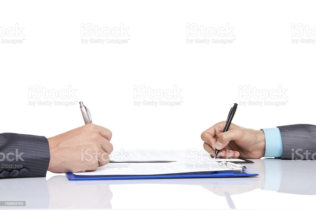 Hands sign up contract stock photo