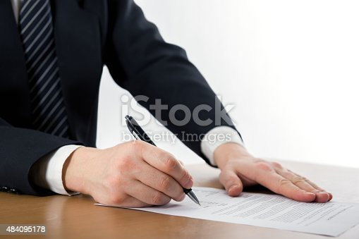 istock Hands signing business documents. Signing papers. Lawyer, realto 484095178