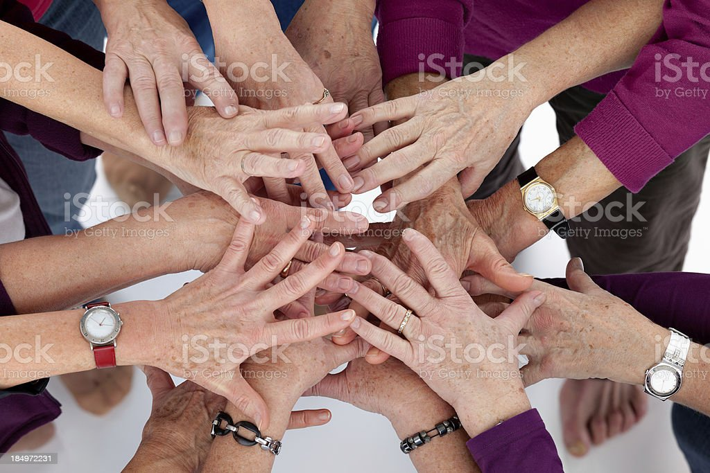 hands stick together stock photo