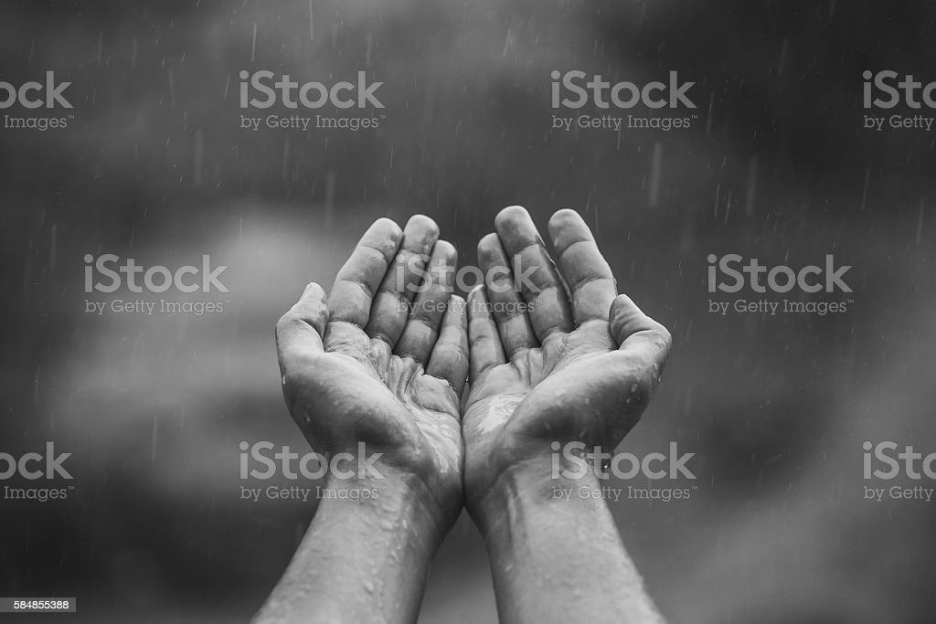 Hands stretched to the sky in the rain. stock photo