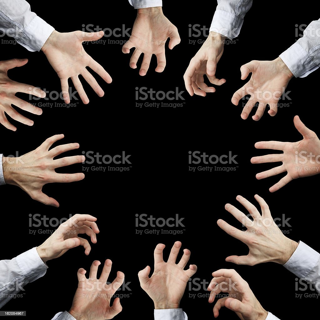 Hands stretching to something royalty-free stock photo