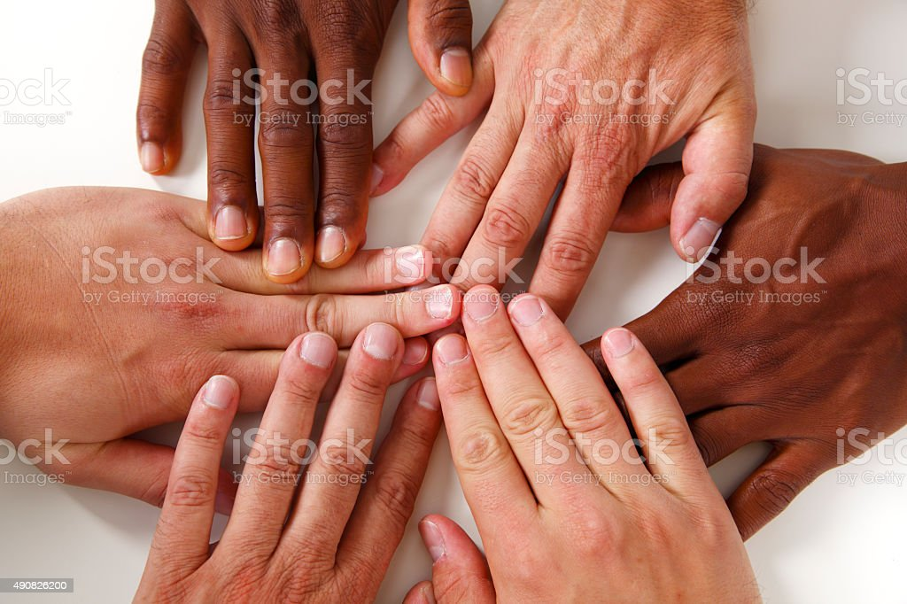 Hands - team of three stock photo