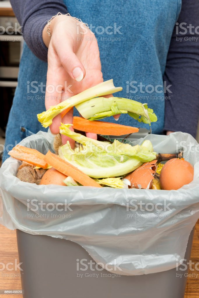 Hands Throwing Food Scraps into a Garbage Bin stock photo