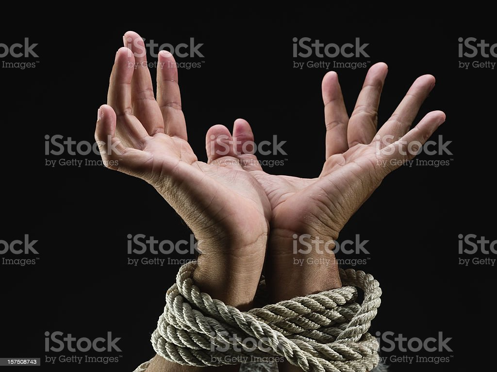 Hands Tied Up stock photo