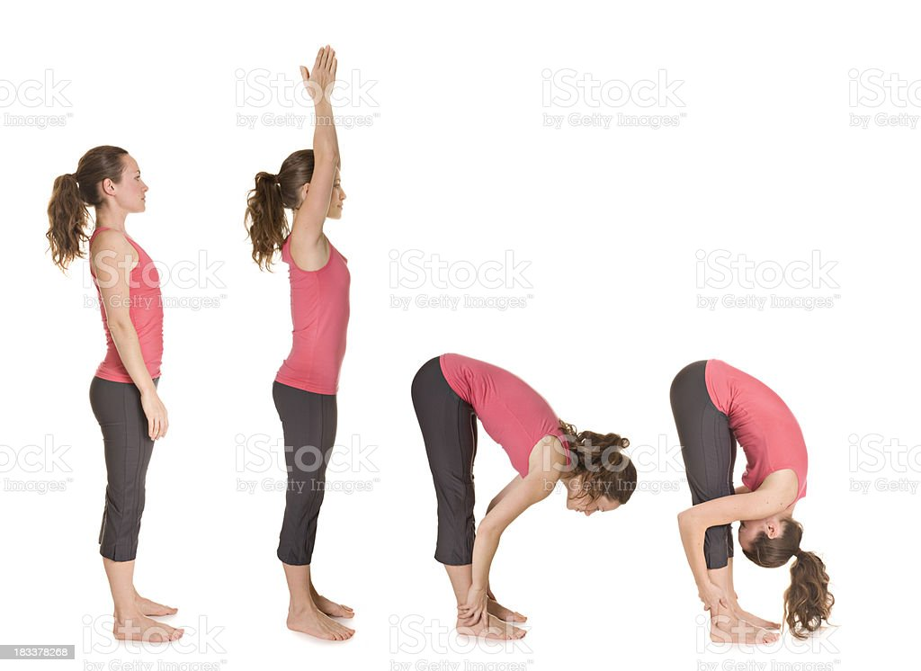 Hands to feet pose royalty-free stock photo