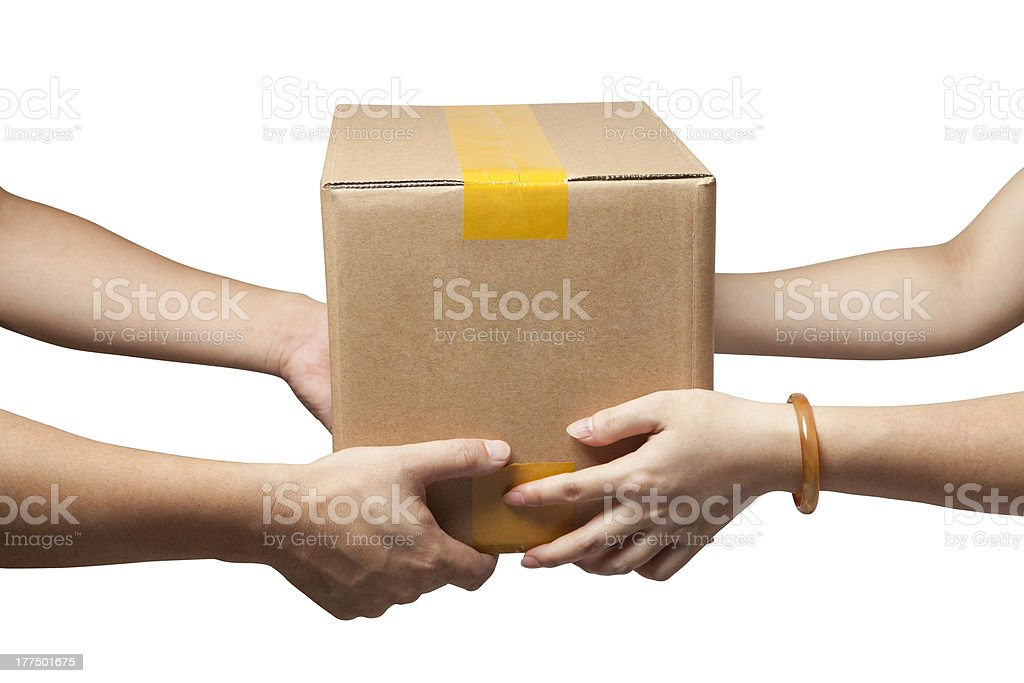 Hands to receive a parcel stock photo