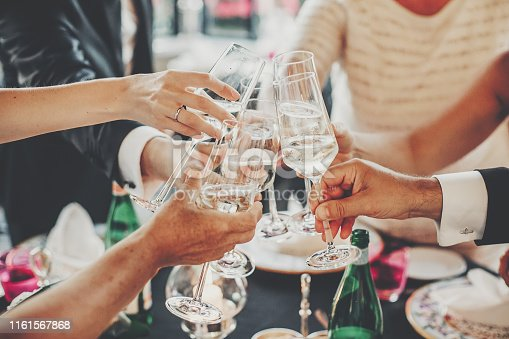 istock Hands toasting with champagne glasses at wedding reception outdoors in the evening. Family and friends clinking glasses and cheering with alcohol at delicious feast celebration. Christmas party 1161567868