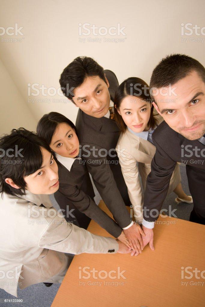 五手一起的商人 免版稅 stock photo