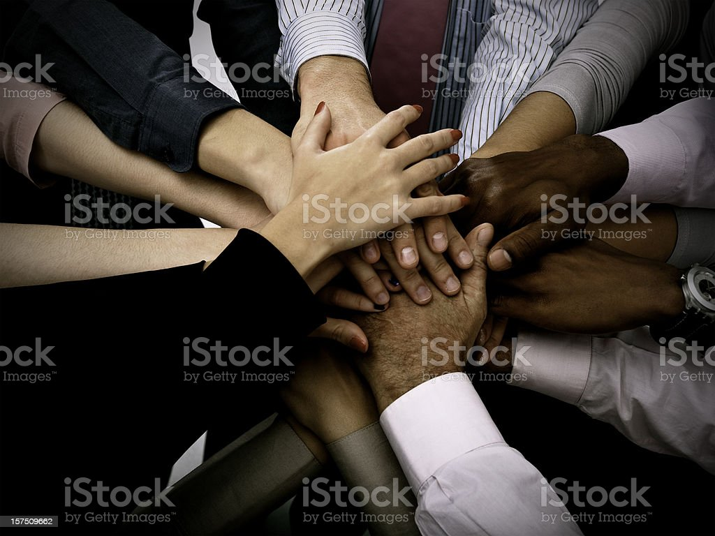 Hands together stock photo