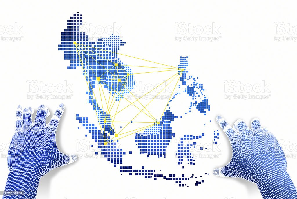 Hands touch ASEAN map network. stock photo