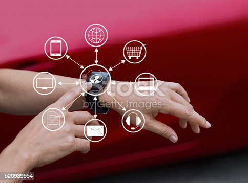 613550706 istock photo Hands touch icon customer network connection on smart watch, Omn 520939554