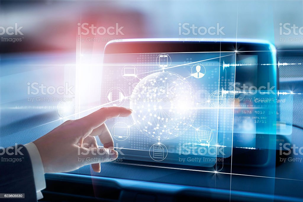 Hands touching circle global network connection and icon customer - Royalty-free Abstract Stock Photo