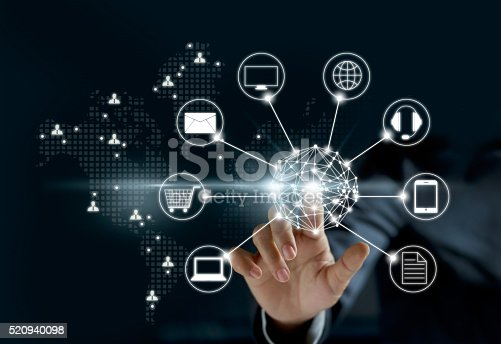613550706 istock photo Hands touching circle global network connection, Omni Channel or 520940098