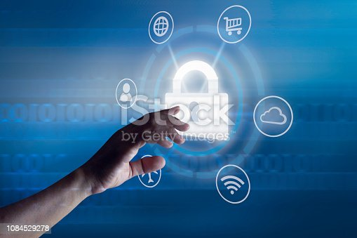 906892336 istock photo Hands touching global connection and security 1084529278