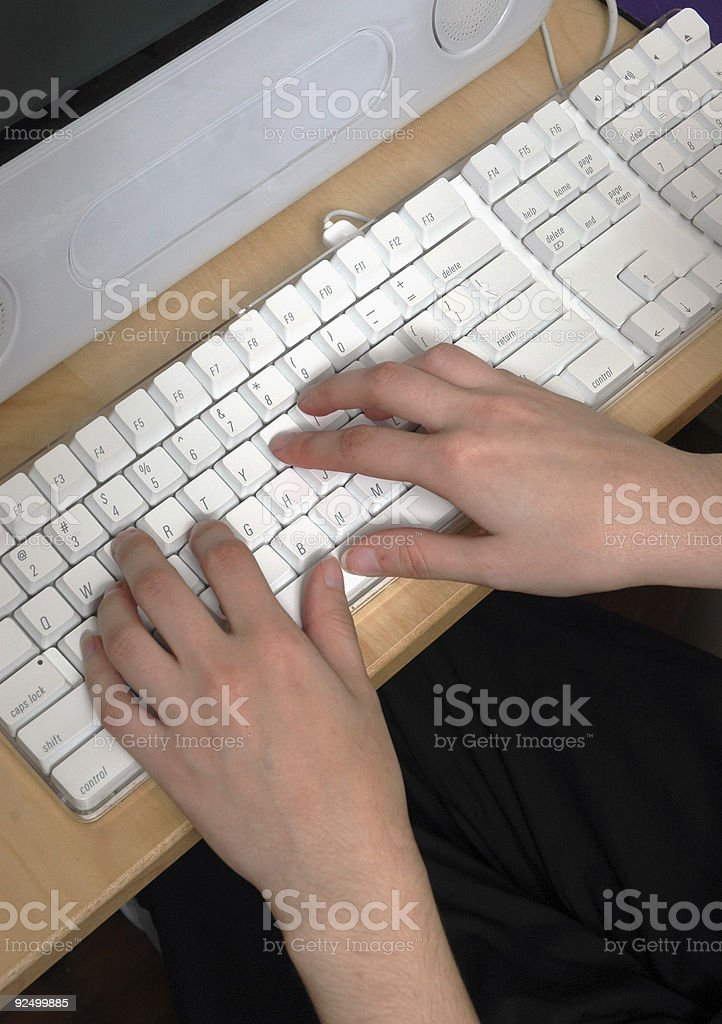 Hands Typing on Keyboard royalty-free stock photo