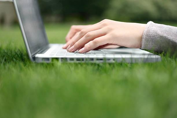 arbeiten auf einem laptop auf dem rasen - garden types stock-fotos und bilder